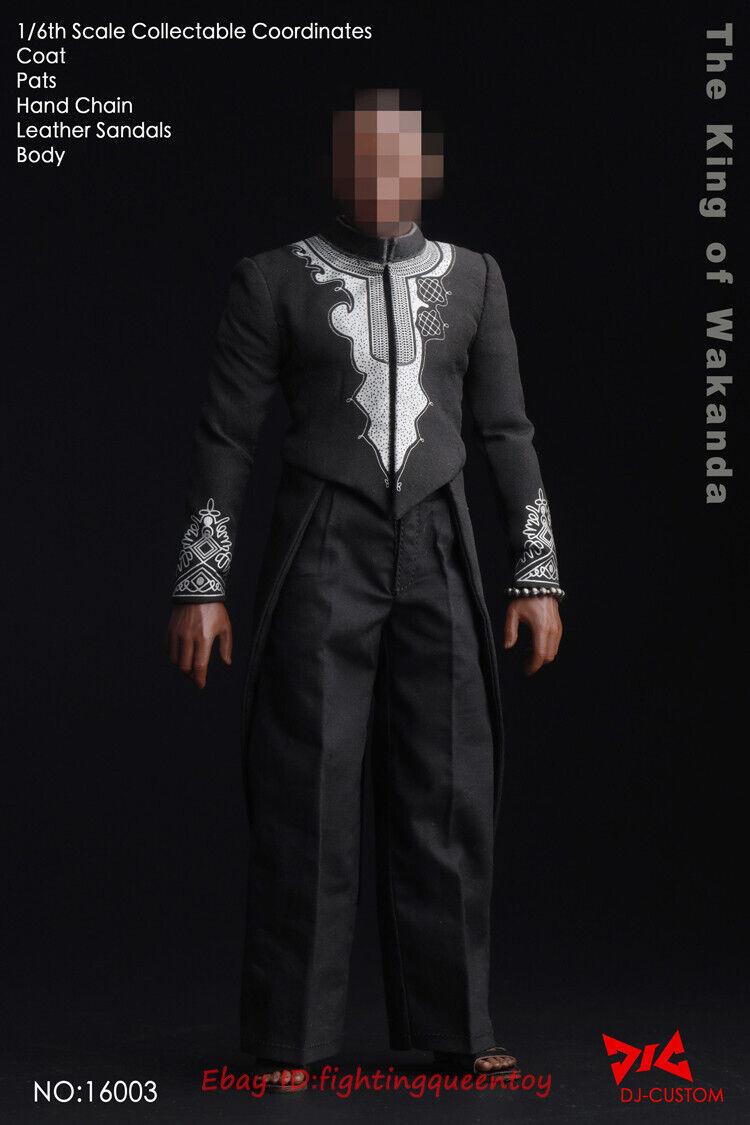 Dj-Personalizado rey de Wakanda Negro Panther 1 6 escala cuerpo y ropa Set en existencias