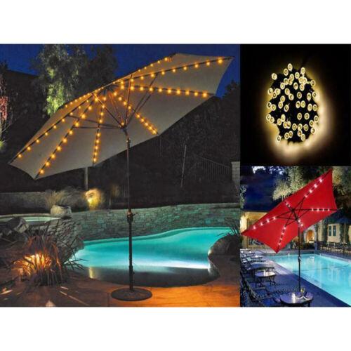 72LED UMBRELLA CHAIN LIGHTS GARDEN PARASOL SOLAR POWER 8 STRUT FAIRY GARDEN LAMP