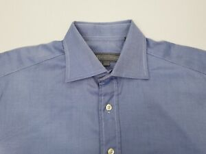 Hickey-Freeman-Men-039-s-Dress-Shirt-Size-16-36-French-Cuff-100-Cotton-Woven-Blue