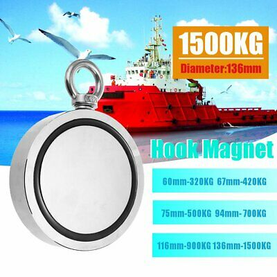 420kg 75mm Double Sided Neodymium Fishing Round Pulling Super Strong Magnet