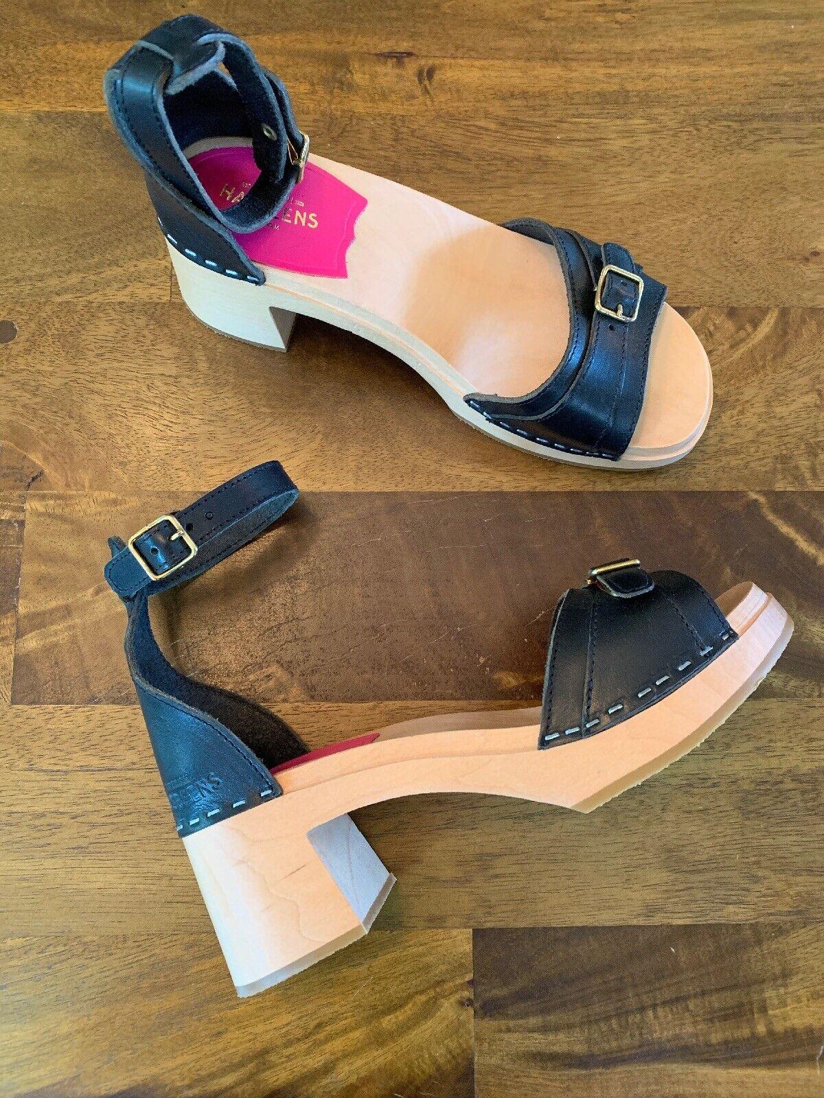 Swedish Hasbeens Black 60's Preppy Sandals 37 New