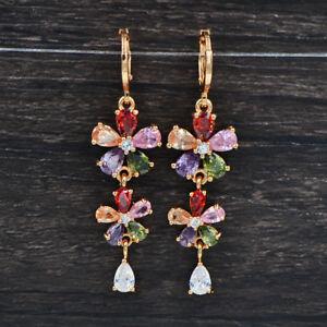 Fashion-Women-Luxury-Multi-Color-Cubic-Zirconia-Flowers-Engagement-Drop-Earrings