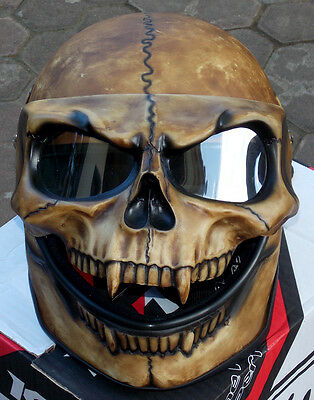 Motorcycle Helmet Skull Monster Death Visor Flip Up Shield Ghost Rider Full Face