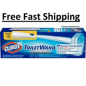 Toilet-Wand-Disposable-Toilet-Cleaning-System-Pack-of-6-Refills-Starter-Kit-NEW