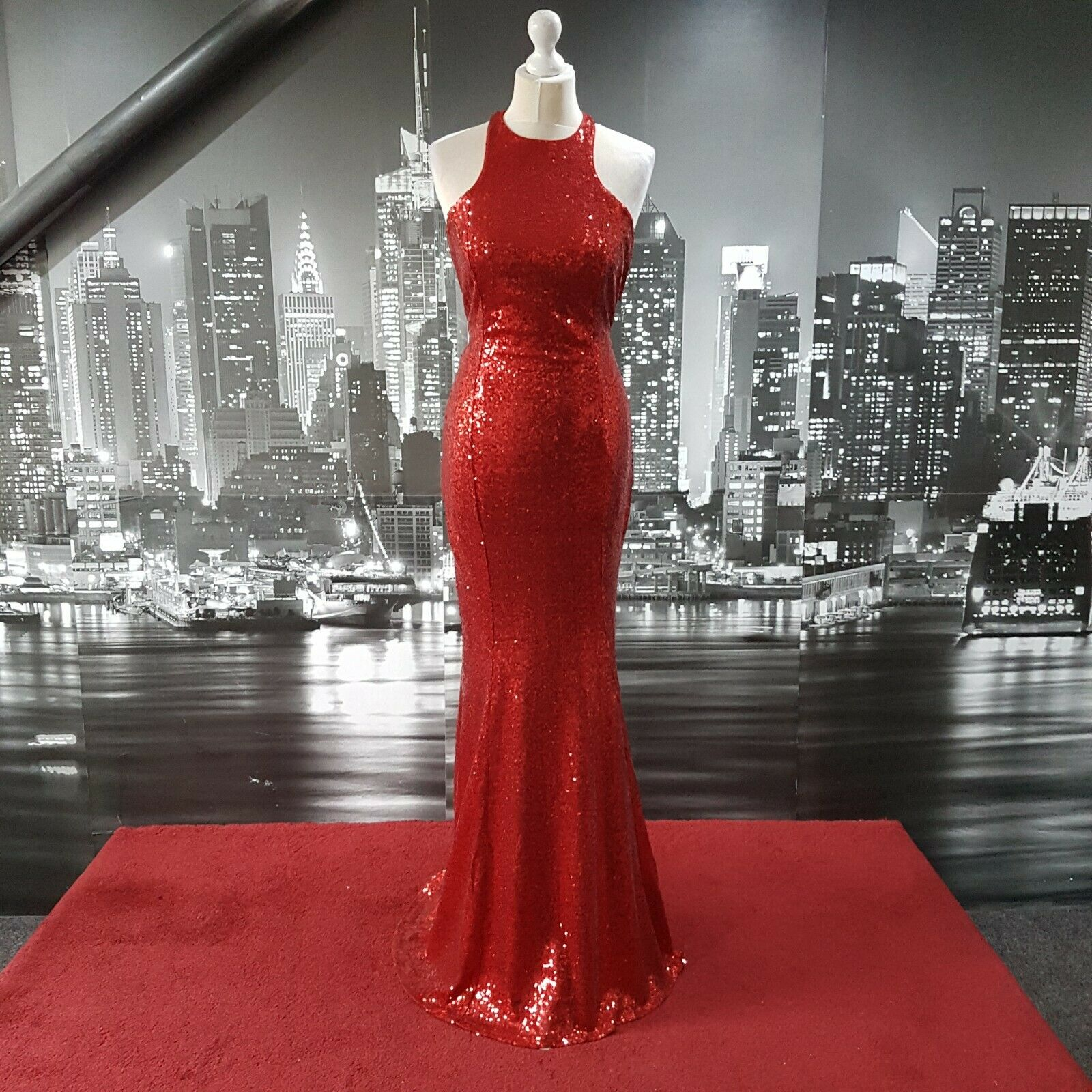 Sequinned Fishtail Dress (Red-Size 8) Prom, Ball, Cruise, Pageant, Cruise,