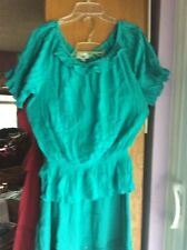 OSO CASUALS..XL..TURQUOISE..PEASANT TOP AND TIERED SKIRT..SQUARE DANCE