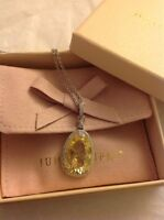 Judith Ripka Sterling Silver Yellow Stone Canary Necklace 925 Box
