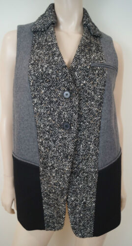 ANTONIO MARRAS Nero e Grigio in tweed lana alpaca mohair Gilet Senza Maniche Top 40