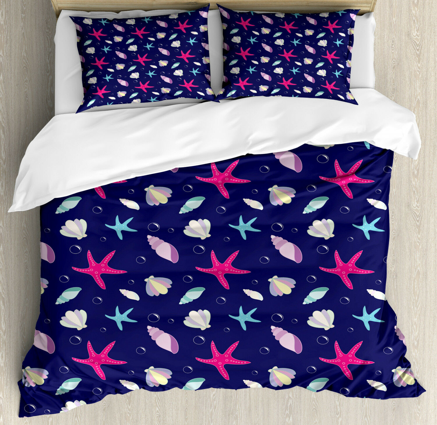 Ethereal Sky Print Navy and Blush Quilted Bedspread /& Pillow Shams Set