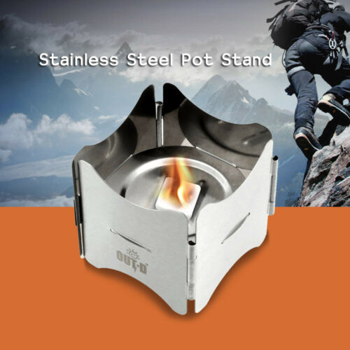 Portable Folding Stainless Steel Pot Stand w//Tray Solid Fuel Stove Stand Durable