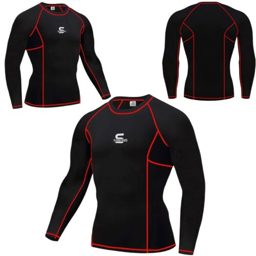 Sawans Homme Compression Armour Base Layer Top Manches Thermique Gym Sports Skin Fit