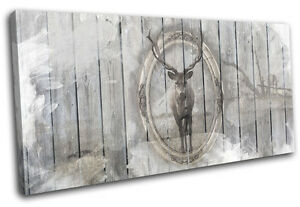 Image Is Loading Shabby Chic Stag Wood Vintage CANVAS WALL ART