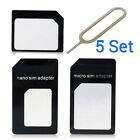 5 Set 4 in1 Convert Nano SIM Card to Micro Standard Adapter For iPhone 7 7S 6 6S