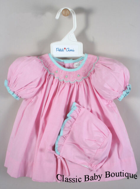 NWT Petit Ami Pink & Blue Gingham Smocked Bishop 3pc Dress Newborn Bonnet Girls