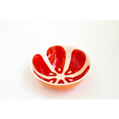 Red Ceramic Soup Bowl Grapefruit Pattern Handmade Pottery Unique