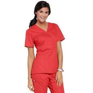 12b4607c842 Image is loading Dickies-Medical-EDS-Signature-Scrubs-Apricot-Mock-Wrap-