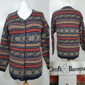 Croft-Barrow-Blue-Beige-Red-Fair-Isle-Nordic-Christmas-Reindeer-Cardigan-Size-16