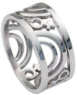Pride Shack - Venus Female Symbol Carved Ring - Women Ladies Lesbian Pride Ring