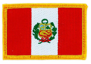 PERU FLAG embroidered iron-on PATCH PERUVIAN SOUTH AMERICAN EMBLEM applique