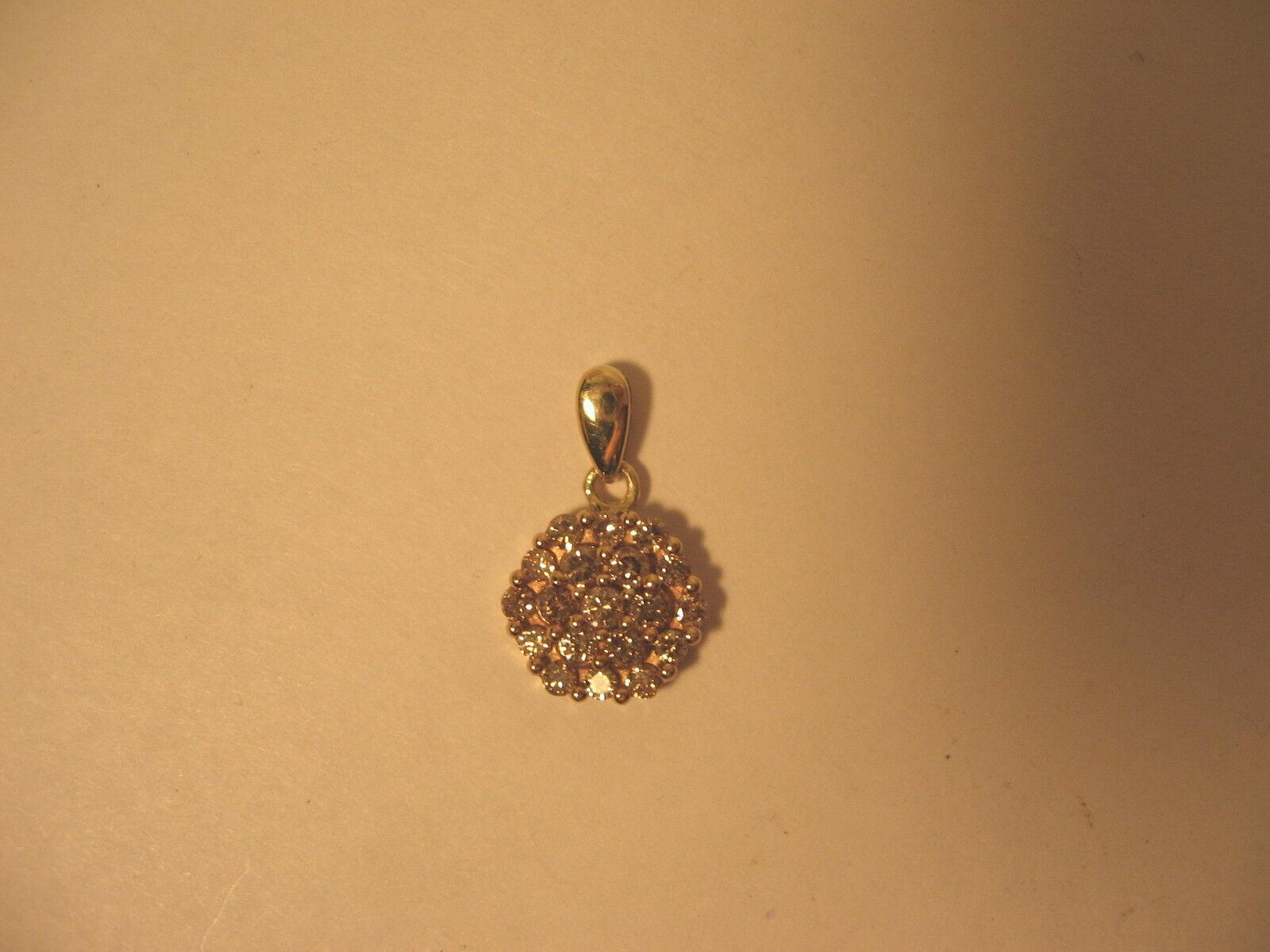 Pendant 10k Diamond Cluster Yellow gold Multi Small Stones Pendant 10K V3 Signed