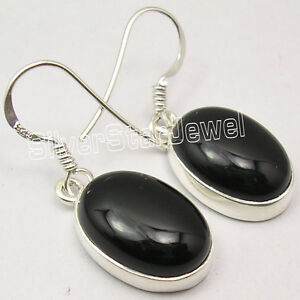 925-Sterling-Silver-Classic-OVAL-CABOCHON-BLACK-ONYX-STUNNING-Earrings-1-2-Inch