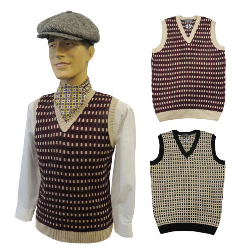 1920s Style Mens Vests    Mens Vintage style  1930s 40s WW2 Wartime  knit slip over Tank Top  £29.99 AT vintagedancer.com