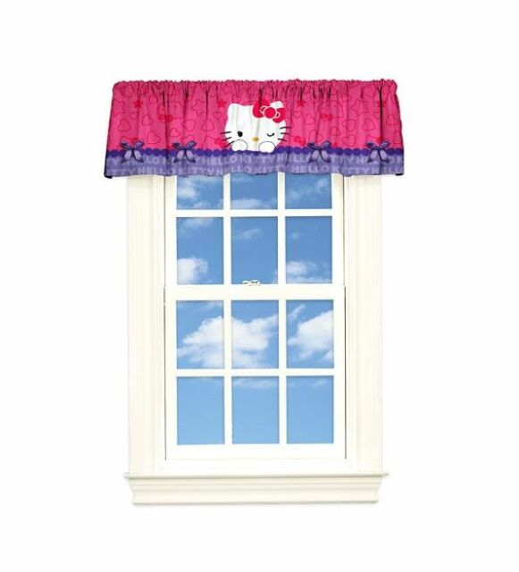 """NEW Hello Kitty Bows and Flowers Decorative Fun Window Valance 50/"""" x 17/"""""""