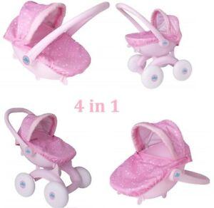 Pink Push Along 4 In 1 Pram First Doll Buggy Cot Seat Toddler Girl Gift Toy 5050842360119