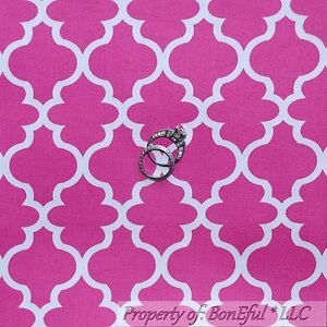 BonEful-FABRIC-FQ-Cotton-Woven-Decor-Pink-White-Damask-Pattern-Print-Calico-Girl