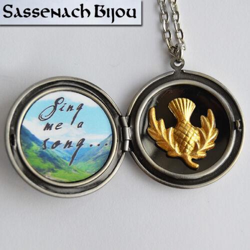 Fraser Tartan Locket Skye Boat Song Thistle Pendant Necklace Outlander Jewelry