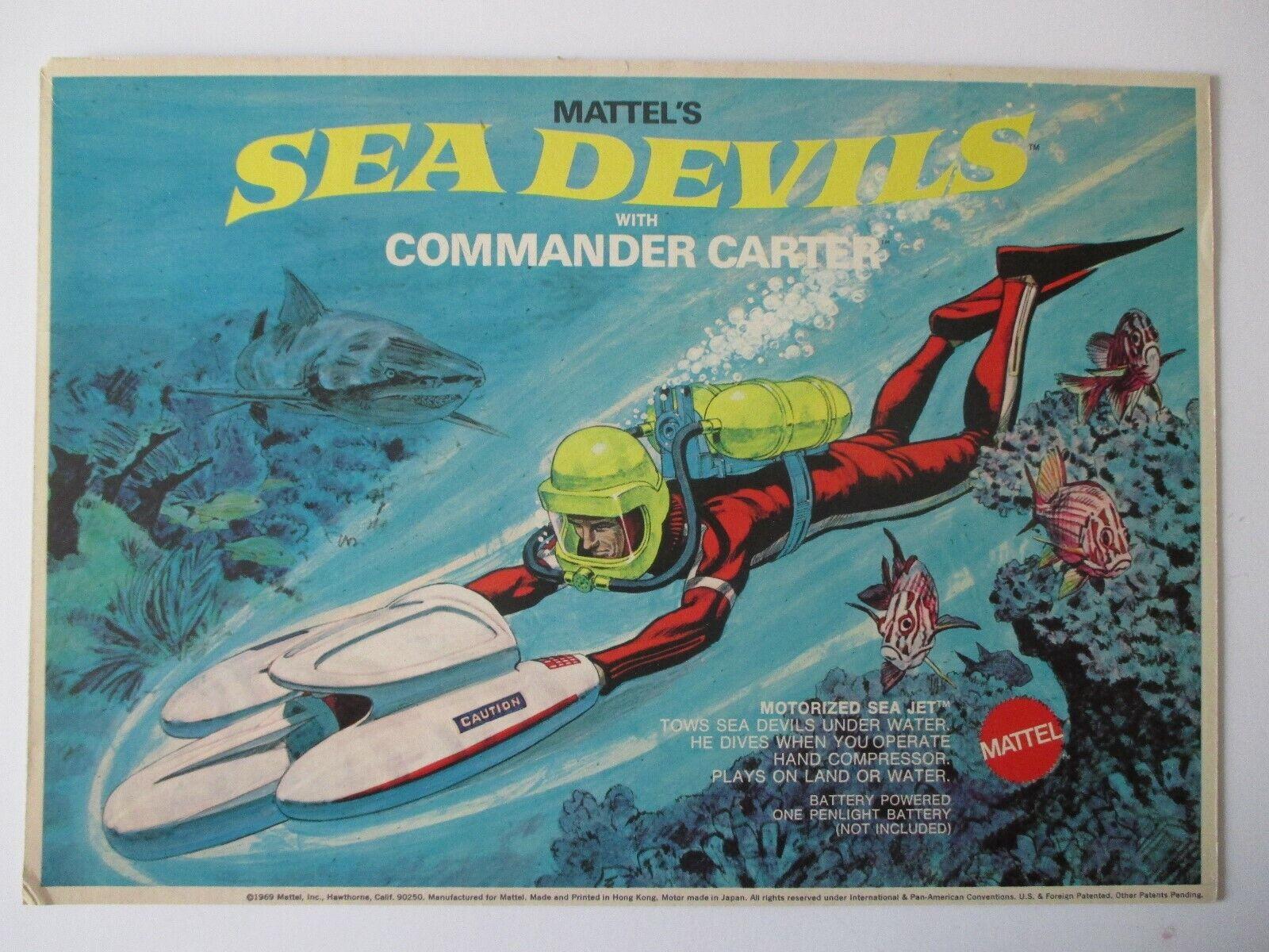 1969 Mattel Sea Devils comandante Cocheter Caja Original Arte Súper Rara Excelente