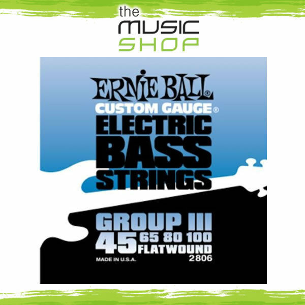 New Set Ernie Ball 2806 Flatwound Group 3 Electric Bass Guitar Strings - 45-100