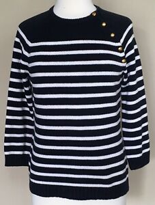 Details about CHAPS Crew Neck Sweater Lightweight Knit Navy Blue Off White Stripes Nautical M