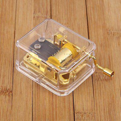 Acrylic Movement Hand Crank Music Box Lover Birthday Gift For Elise Golden