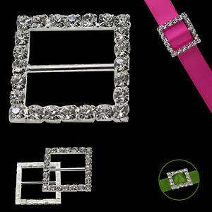Adorno De Hebilla de Cristal Cuadrado de 10 invitación de Boda Cinta Slider 14 mm
