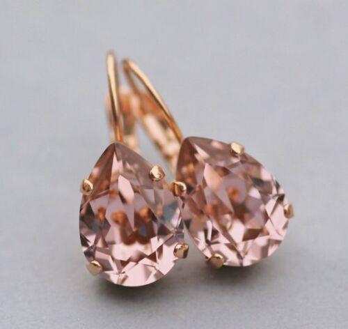 14K Rose Gold Over Pear Cut 4.00Ct Morganite Solitaire Drop Dangle Stud Earrings