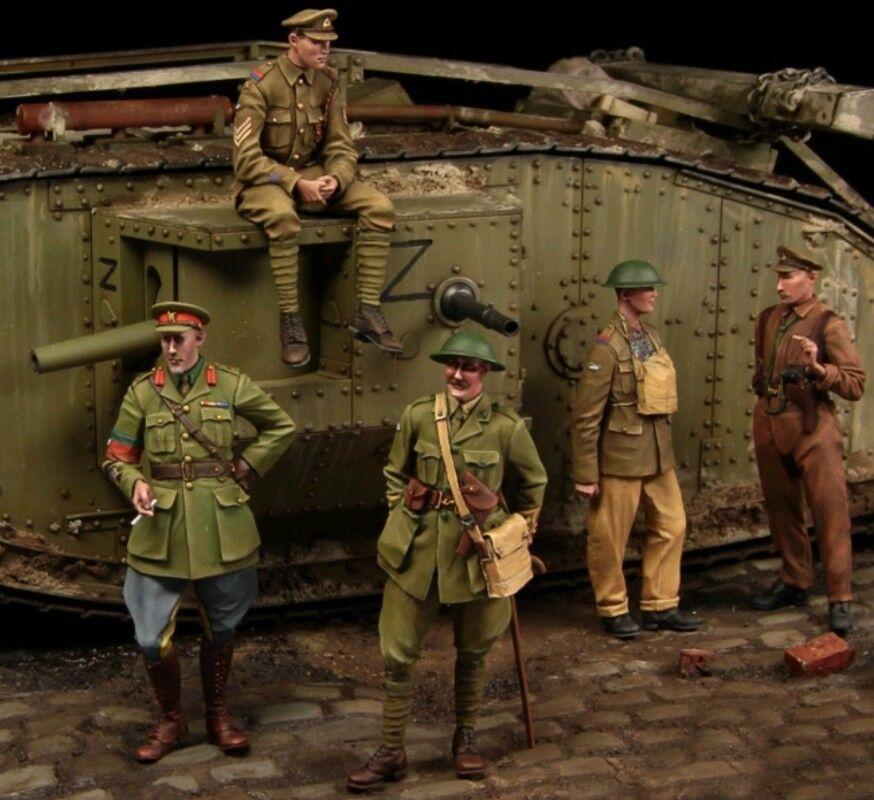1 35 scale resin model figures kit WW1 British Tank crew big set (5 figures)