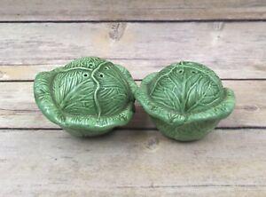 Vintage-Green-Cabbage-Lettuce-Salt-amp-Pepper-Shaker-Set