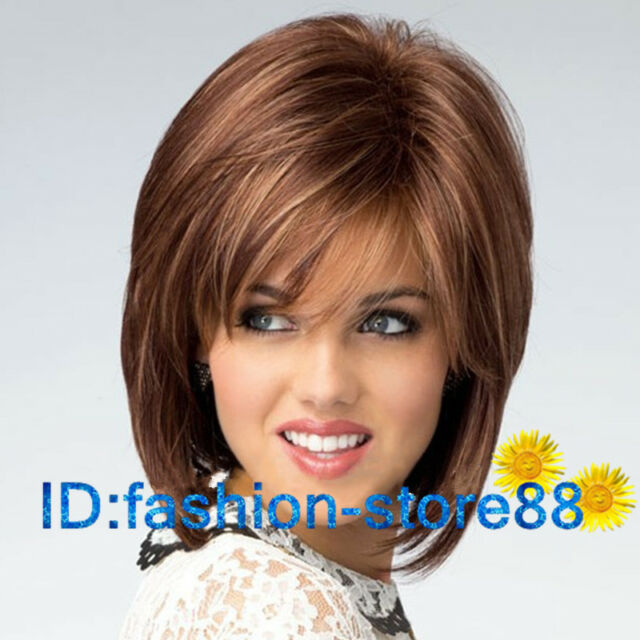 2017 New sexy Women's ladies short Brwon Mix Natural Hair full wigs + wig cap