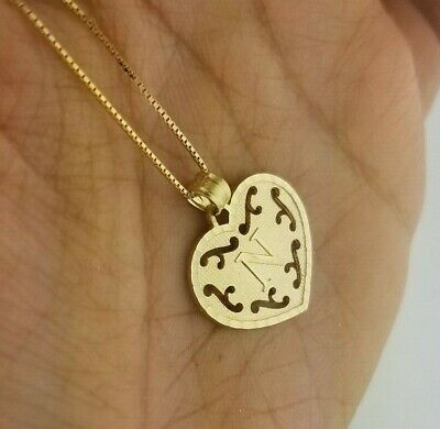 14K Yellow Gold Initial Letter Pendant Charm Alphabet Charm Round Leaves Custom Personalized With 0.6 MM Box Chain