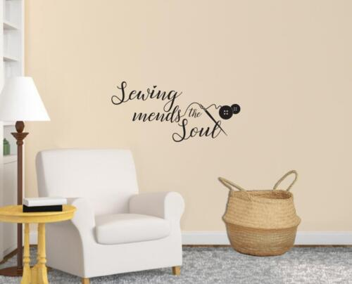 SEWING MENDS THE SOUL WALL STICKER Decal Home Decor Art Quote Lettering SQ211