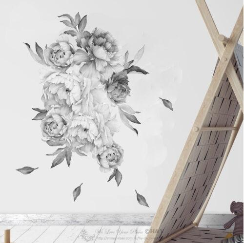 Black White Peony Blossom Flowers Wall Sticker Nursery Decal Kid Room Home Decor