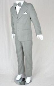 6-Piece-Kids-Light-Grey-Wedding-Formal-Tuxedo-Suit-Boy-Baby-boys-Size-000-16