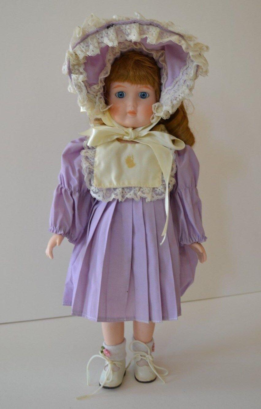 Vintage Porcelain Bisque Girl Doll 14  Copper Strawberry Blonde Hair, blu Eyes