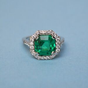 925-Sterling-Silver-Natural-Certified-7-Ct-Emerald-Octagon-Shape-Engagement-Ring