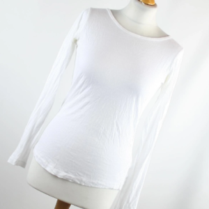 New-Look-Womens-Size-14-White-Plain-Cotton-Blend-Basic-Tee