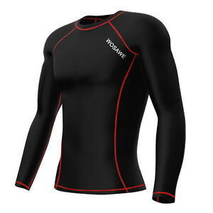 Cycling-Mens-Compression-Base-Layer-Long-Sleeve-Tight-Sport-T-shirts-Riding-Tops