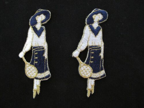 Lot 2Pcs Tennis Girl,Tennis Lady Model Embroidery Iron On Applique Patch