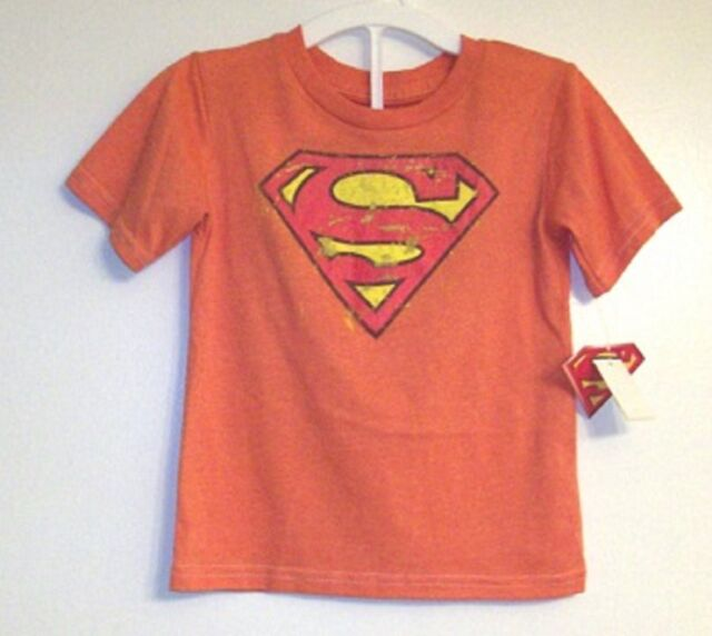 Boys Superman Logo T Shirt 5t Orange Superhero Toddler Vintage Style