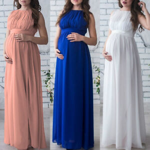 596ee05fd84 Image is loading Maternity-Chiffon-Long-Maxi-Dress-Photography-Pleated-Gown-